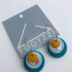 TEXTURE Hoops (Teal + Pumice + Mustard) Stackable Statement Dangles