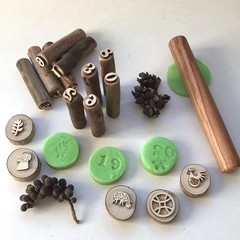 Toys of Wood - Natural Wooden Rolling pin & stamp set
