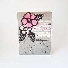 Grey and Pink Birthday Card, Floral Birthday Card