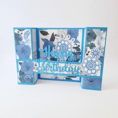 3D Happy Birthday Card, Blue Floral Womens Birthday Card