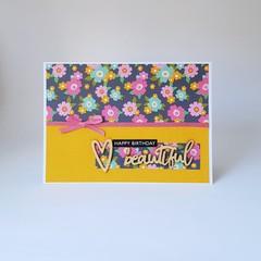 Happy Birthday Beautiful, Yellow Floral Birthday Card