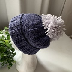 Handmade Pure Wool dark blue Adult Beanie with light blue Pom Pom