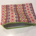 Fabric zipper pouch pink yellow zippered