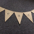 peace bunting flags on hessian burlap bunting christmas decoration