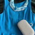 Blue waves Shibori silk statement necklace