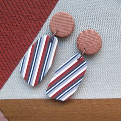Ticking Stripe Wedge Drop earrings
