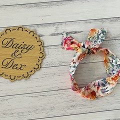 Floral Headband, Size newborn to adult, Ladies and Girls Hair Tie, Head Wrap