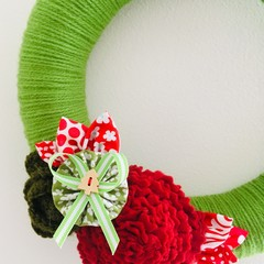 READY TO SHIP 24CM Christmas front door wreath red white green floral flower