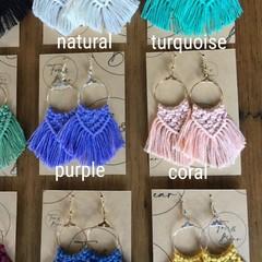 Handmade macrame earrings NEW 100% cotton