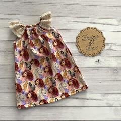 Seaside Ruffle Dress, Size 2, Lace Sleeve Dress, Horse, Ponies, Horses