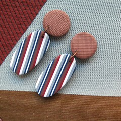 Ticking Stripe Oval Copper drop earrings
