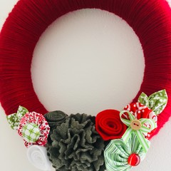 READY TO SHIP Christmas front door wreath red white green floral flower