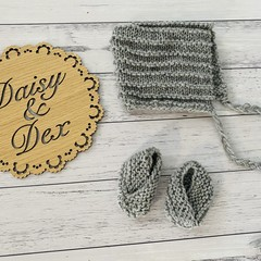 Knitted Pixie Hat and slippers, Baby Boy, Baby Girl, Baby Bonnet