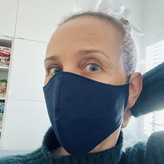 Cotton Face Mask ~ Navy ~ 3 layers