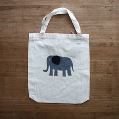 Elephant with Felt Ear - Eco • Reusable Shopping Tote Bag