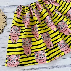 Piggies Skirt, Size 0 1 2 3 4 or 5, Girls Skirts, Bright Pigs