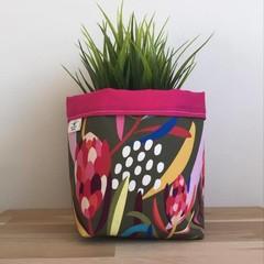 Small fabric planter | Storage basket | OLIVE GREEN PROTEA