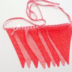 double sided fabric bunting Christmas red white flags