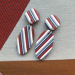 Ticking Stripe  Oval  Drop earrings