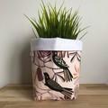 Small fabric planter | Storage basket | Pot cover | BLACK COCKATOO