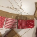 READY TO SHIP Christmas advent calendar burlap hessian bunting red white spot