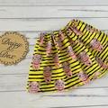 Piggies Skirt, Size 0 1 2 3 4 or 5, Girls Skirts, Bright Pigs