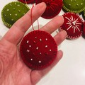 READY TO SHIP felt Christmas decoration ornament hanging gift red grey green
