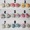 Round Flower Fabric button stud earrings , Red Blue Purple Pink Yellow Green
