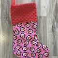 Personalised Christmas Stocking - Penguins (red minkee)