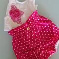 Girls Pink Polka Dot Britches Set Size 1