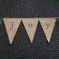 joy bunting on hessian burlap bunting christmas decoration