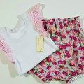 Girls Flutter Sleeve Britches Set Size 1 & 2