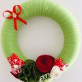 READY TO SHIP Christmas front door wreath red white green floral flower enbellis