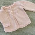 Pink  Cardigan - Size 3-6 months Handknitted in a wool silk blend