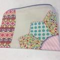 Fabric zipper pouch pink yellow zippered