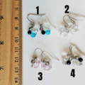 Minimal Small glass bead Flower drop earrings , Silver pink Black Clear Blue