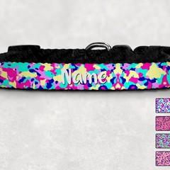 Bright Camo Printed Dog Collar