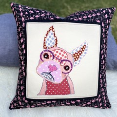 """Fran""the Frenchie Flamingo Cushion Cover"