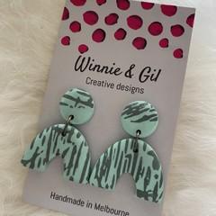 Mint patterned u-shaped dangles