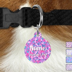 Large Double Sided Pet ID Tag, Pastel Camo, Dog tag, Cat tag, Camouflage