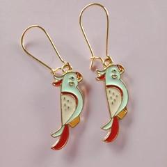 Gold enamel cockatoo charm earrings