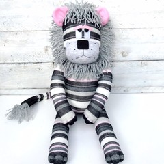 'Lexie' the Sock Lion - grey pink black & white stripes - *READY TO POST*