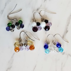Art deco Small glass bead Flower drop earring , Clear Purple Green Blue Brown