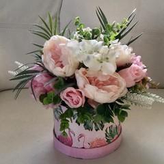Pink Peonie Faux Flower Hatbox