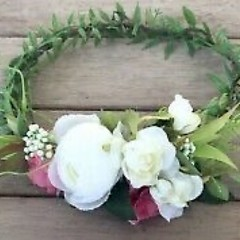 White Rose Faux ladies Flower Crown
