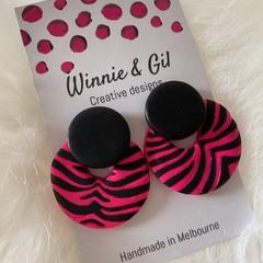 Pink zebra stripe circle studs
