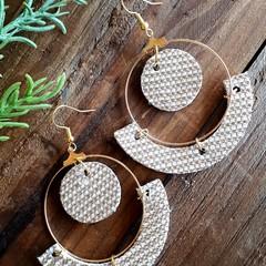 Belinda Hoop Earrings, Gold Genuine Leather