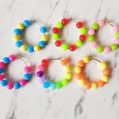 Colourful Plastic bead hoop earrings , Pink Orange Yellow Blue Red Purple Green