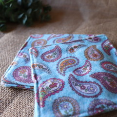 Every Day Resuable Wipes- Small Blue Paisley