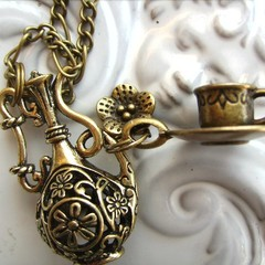 1x bronze teapot necklace coffee pot, cup and saucer flower charm -- necklaces